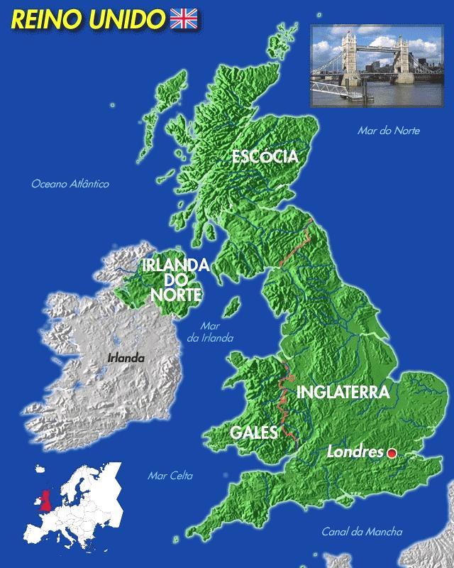 Mapa De Gran Bretaña En Español.Mapa Reino Unido En Espanol
