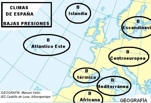 Resultado de imagen de MAPA MASAS DE AIRE SOBRE ESPAÑA