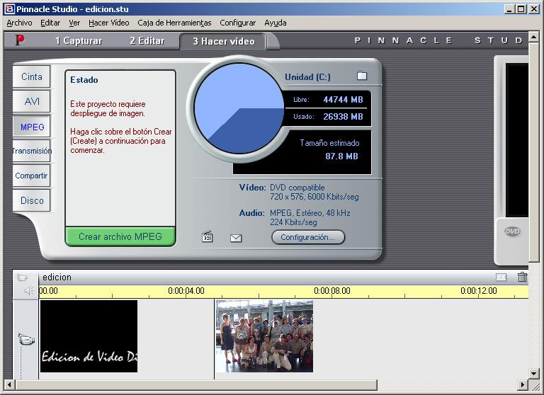 Edición de Vídeo Digital con Pinnacle Studio 8  Crear el vídeo